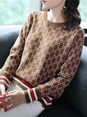 Casual Long Sleeve Geometric Printed Shift Sweater_1