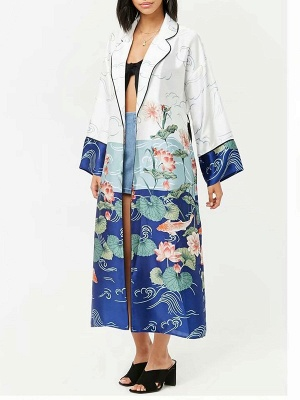 Blue Bow Casual Color-block Floral Printed Shift Coat_1