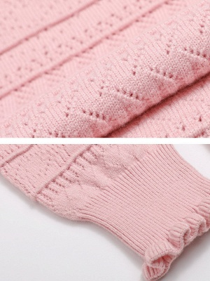 Pink Shift Balloon Sleeve Stand Collar Sweater_5