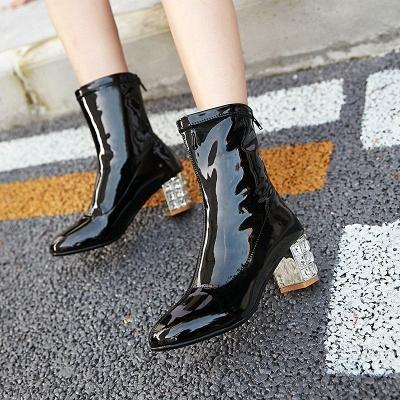 Chunky Heel Zipper Elegant Square Toe Boots_7
