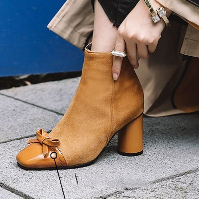 Daily Zipper Square Toe Bowknot Chunky Heel Boots_5