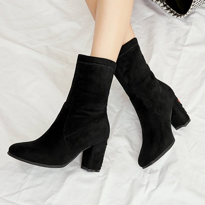Chunky Heel Working Suede Square Toe Boot_3