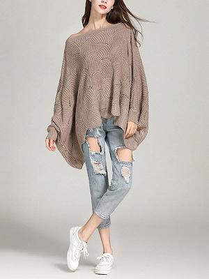 Casual Bateau/boat neck Batwing Sweater_10