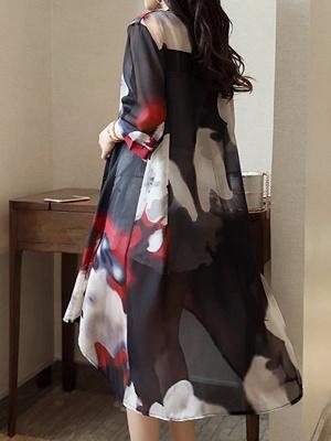 Asymmetric Stand Collar 3/4 Sleeve Holiday Chiffon Coat_14