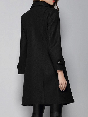 Black Long Sleeve Lapel Work Buttoned Shift Coat_3