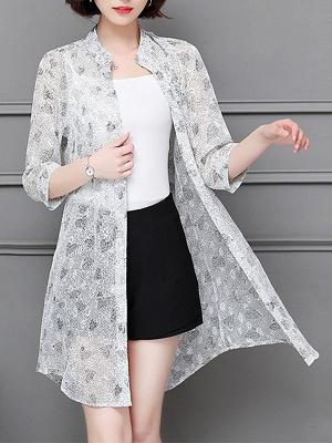 3/4 Sleeve Casual Chiffon Abstract See-through Look Printed Coat_3
