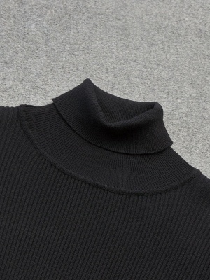 Turtle Neck Casual Bell Sleeve Pleated Sweater_7