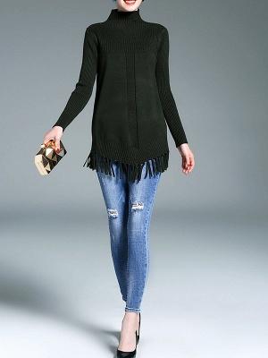 Turtleneck Long Sleeve Elegant Solid Fringed Sweater_7