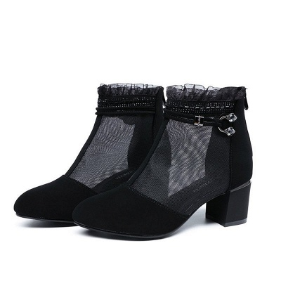Daily Mesh Fabric Zipper Round Toe Boots_1