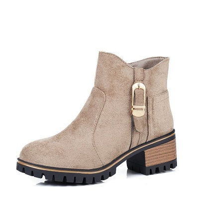Buckle Chunky Heel Daily Round Toe Zipper Boots_2