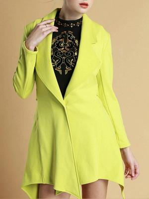 Green Asymmetrical Lapel Buttoned Paneled Coat_1