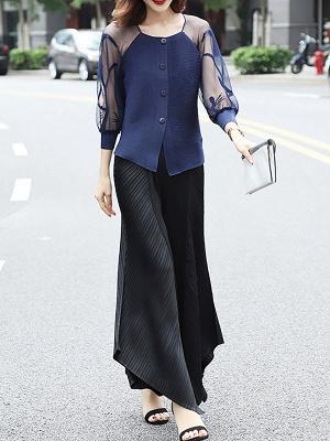 3/4 Sleeve Buttoned Beaded Paneled Pleated Coat_9
