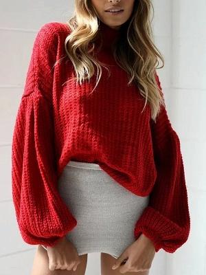 Plain Casual Balloon Sleeve Sweater_5