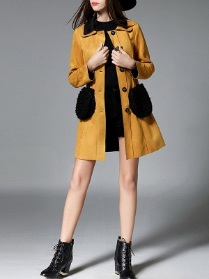 Yellow Casual Solid Shift Long Sleeve Coat_4