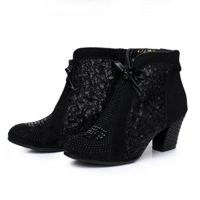 Black Winter Beading Chunky Heel Casual Lace Boot_3
