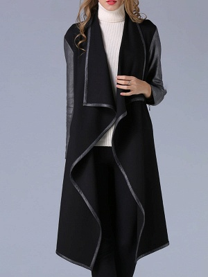 Black Shawl Collar Casual Paneled Coat_7