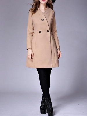 Casual Buttoned Solid Long Sleeve Coat_11