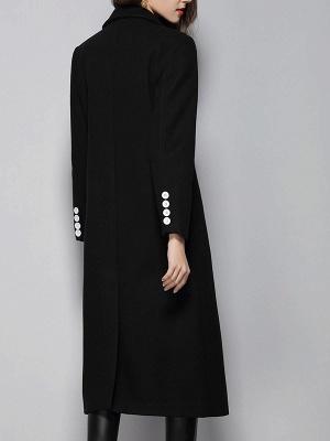 Black Buttoned Lapel High Low Slit Coat_3