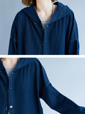 Blue Buttoned Casual Denim Solid Coat_7