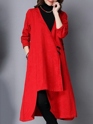 Linen Sleeveless A-line Casual Jacquard Coat_6