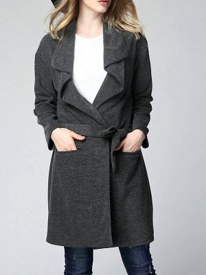 Gray Long Sleeve Casual Solid Pockets Coat_1