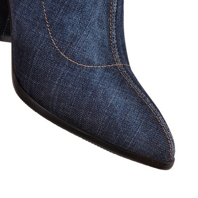 Women's Boots Dark Blue Pointed Toe Chunky Heel Boots_14