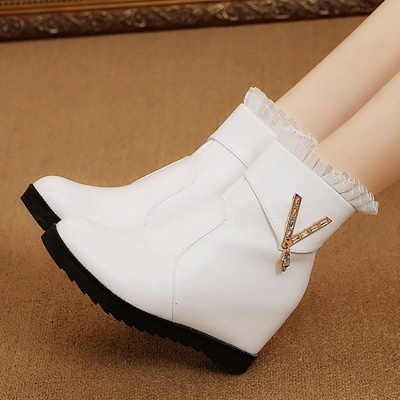 Rhinestone Round Toe Zipper Elegant Wedge Heel Boots_9