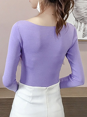 Casual Long Sleeve Paneled Sweater_11