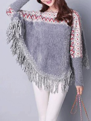 Casual Batwing Fringed Sweater_3