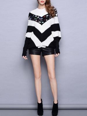 Black-white Long Sleeve Shift Cotton Sweater_4
