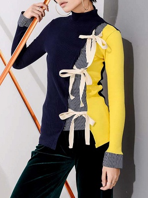 Multicolor Stand Collar Paneled Statement Sheath Sweater_1