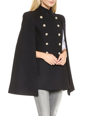 Black Solid Cape Sleeve Buttoned Casual Stand Collar Coat_6