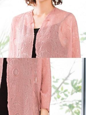 Pink Crew Neck Solid Shift Crinkled Coat_6