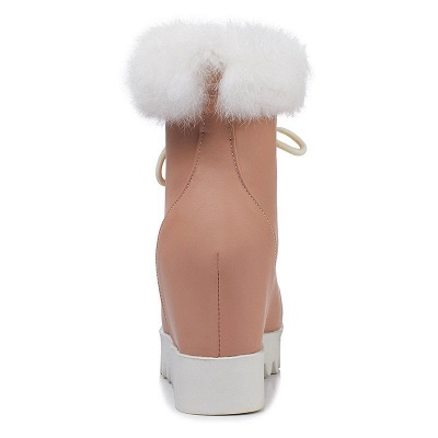 Lace-up Daily Wedge Heel Round Toe Fur PU Boot_11