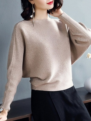 Batwing Casual Solid Sweater_4