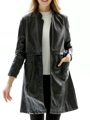 Black Long Sleeve Stand Collar Coat_1