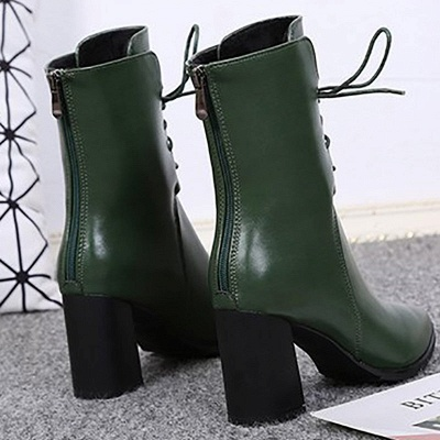 Lace-up Chunky Heel Daily Pointed Toe Elegant Boots_9