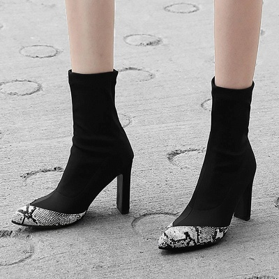 Daily Chunky Heel Pointed Toe Elegant PU Boots_3