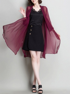 Solid Casual 3/4 Sleeve Shawl Collar Slit Chiffon Coat_9