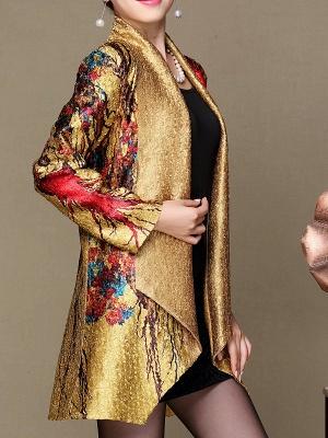 Asymmetrical Long Sleeve Shawl Collar Casual Crinkled Printed Coat_8