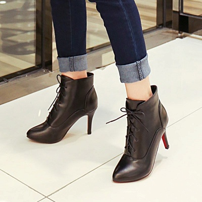 Lace-up Stiletto Heel Pointed Toe Elegant Boots_6