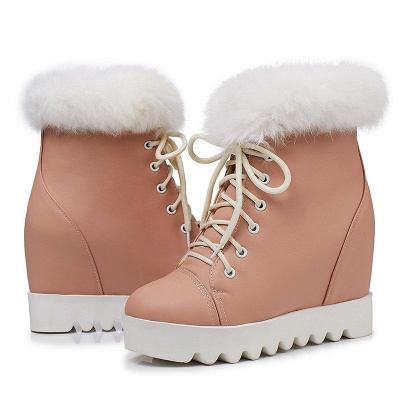 Lace-up Daily Wedge Heel Round Toe Fur PU Boot_7