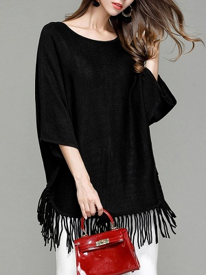 Casual Solid Batwing Sweater_3