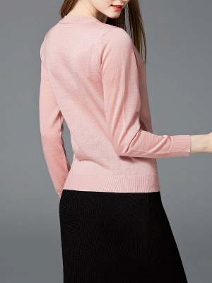 Solid Casual Long Sleeve Sweater_4