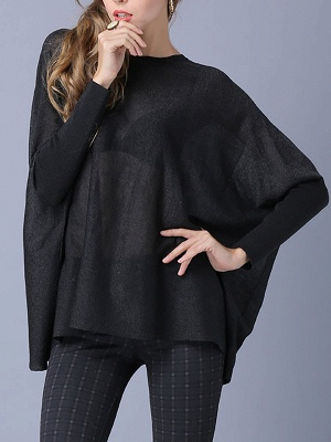Solid Batwing Casual Knitted Crew Neck Sweater_2