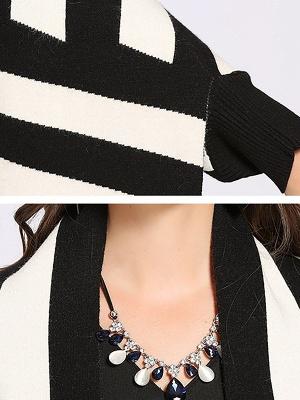Striped Fringed Shift Long Sleeve Elegant Sweater_12