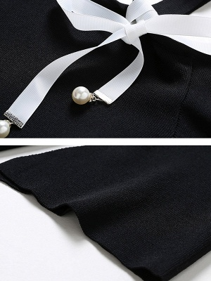 Black Casual One Shoulder Solid Sweater_5