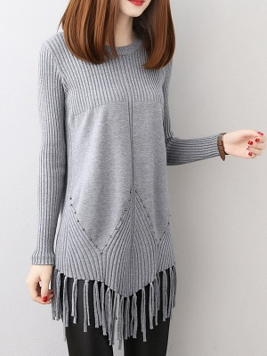 Casual Long Sleeve Crew Neck Sweater_3