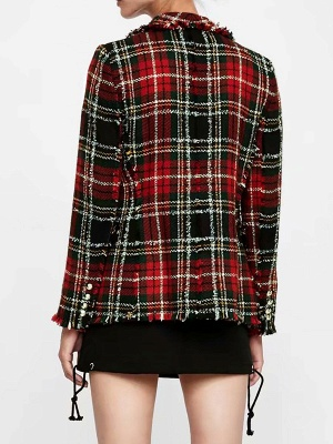 Red Work Checkered/Plaid Printed Buttoned Pockets Coat_3