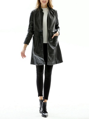 Black Long Sleeve Stand Collar Coat_4
